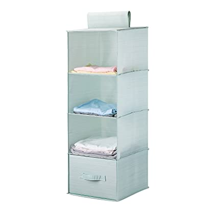 Meeu0027life Collapsible 4 Shelf Hanging Closet Organizer Set With 1Drawer  Thick Cardboard Boards