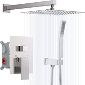 Rinkmo Shower System,Brushed Nickel Wall Mounted Rainfall Shower Head Systems Set with 12 Inches Square Rain Shower and Handheld Shower Faucet,Rough-in Solid Brass Valve Body and Trim Included
