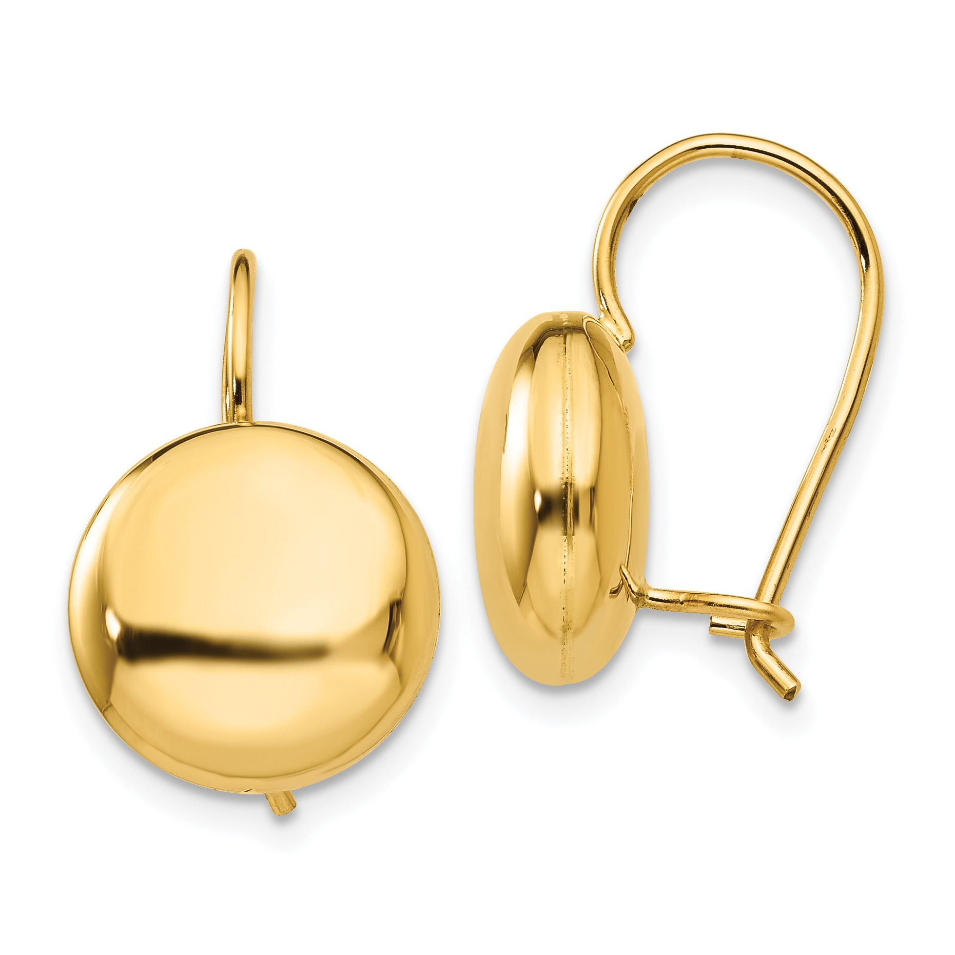 ICE CARATS 14k Yellow Gold 12mm Button Kidney Wire Ball Stud Earrings Fine Jewelry Gift Set For Women Heart