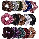 Ondder 16 Pack Velvet Scrunchies Hair Bobble Elastics Hair Scrunchy Hair Bands Headbands Women Scrunchies Bobbles Hair Ties, 16 Colors