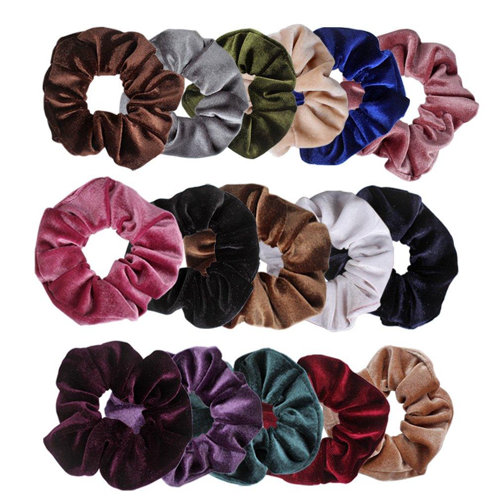 Ondder Velvet Scrunchies Hair Bobble Elastics Hair Scrunchy Hair Bands Headbands Women Scrunchies Bobbles Hair Ties, 16 Colors