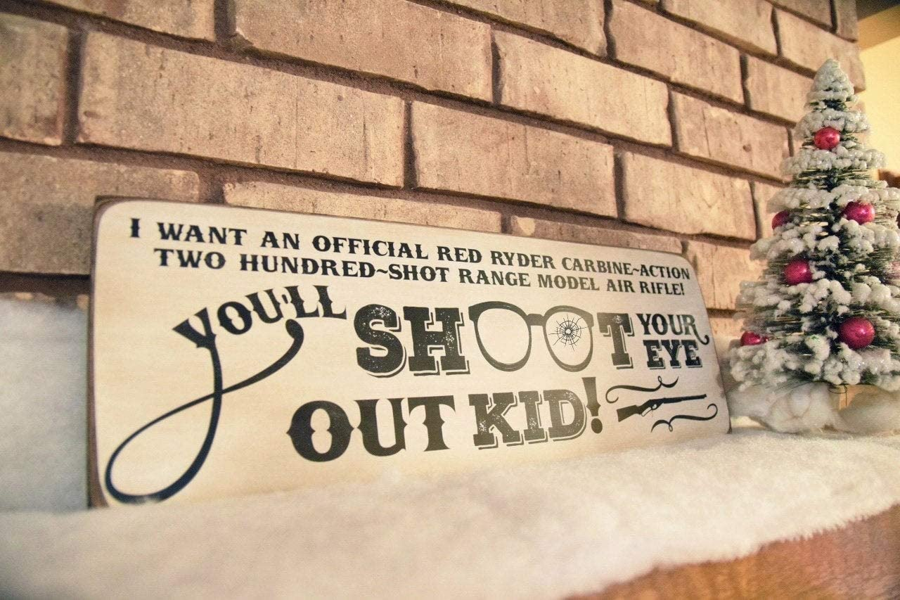 43LenaJon You'll Shoot Your Eye Out Kid Christmas Story Sign, A Christmas Story, Movie Christmas Decor Sign,Rustic Hanging Wooden Label for Garden Decor