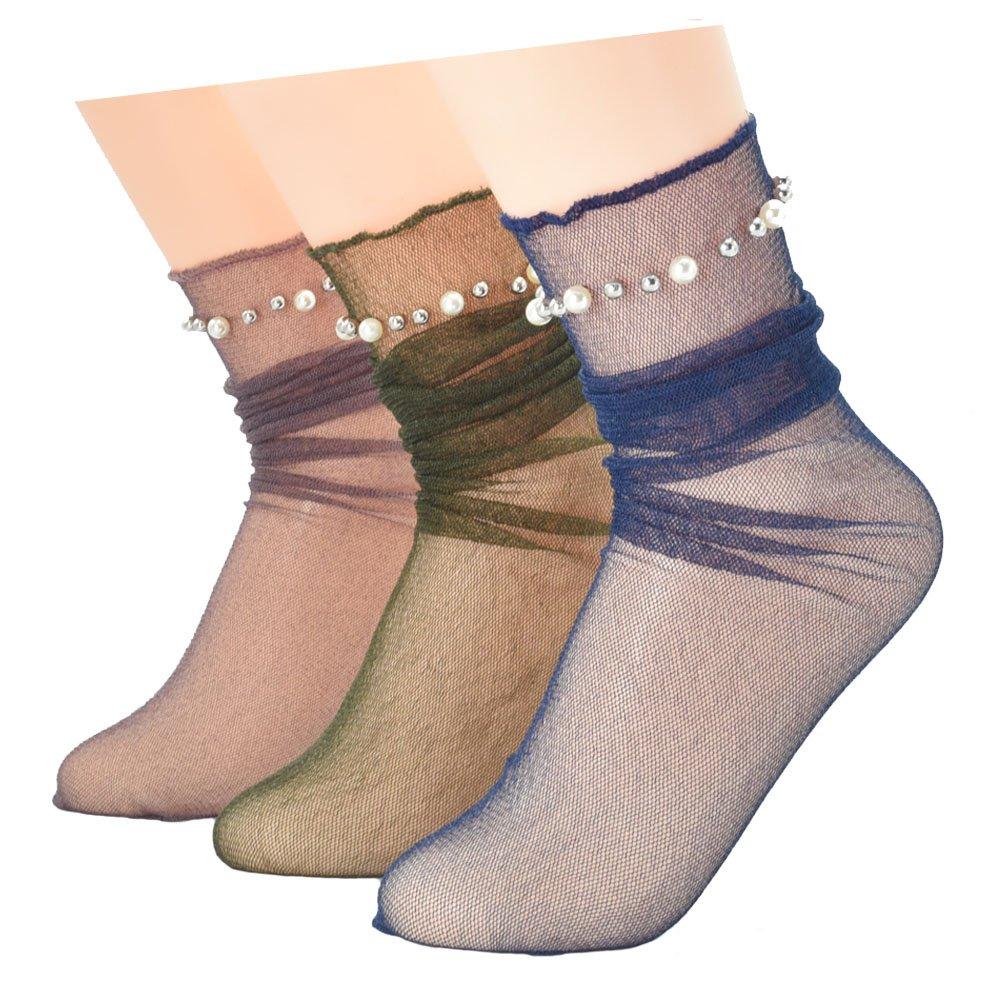 Ziye Shop 3 Pairs Ladies Pearl Beads Glitter Mesh Lace Socks