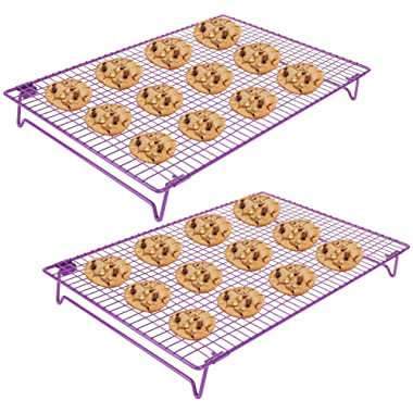2 pcs 2-Tier Stackable Cooling Rack 17x11 , Cross Grid Stainless Steel Wire Rack for Cookies Cake Bread Oven Safe for Cooking Roasting Grilling Baking with 4 Stable Legs, Cookies Recipe Included