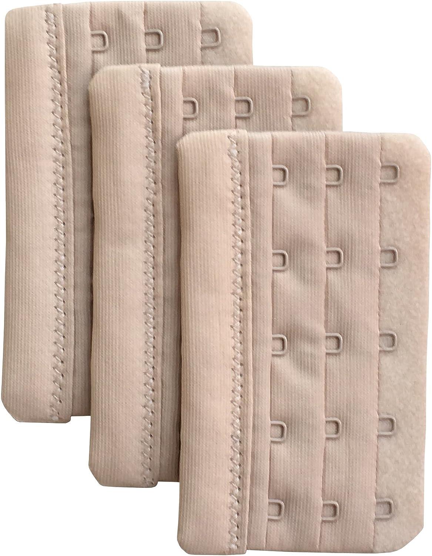 Chanie Women Pack of 3 Soft Comfortable 5 Hooks Bra Extender,2.3x 3.7