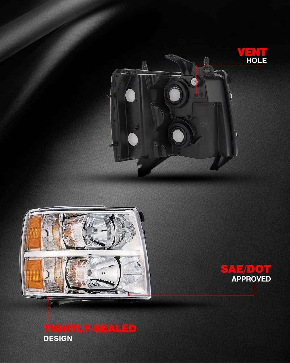 KAC Headlight Housing for Replacement Headlight Assembly for Silverado 25833679//22853027 OE# 25833678//22853028