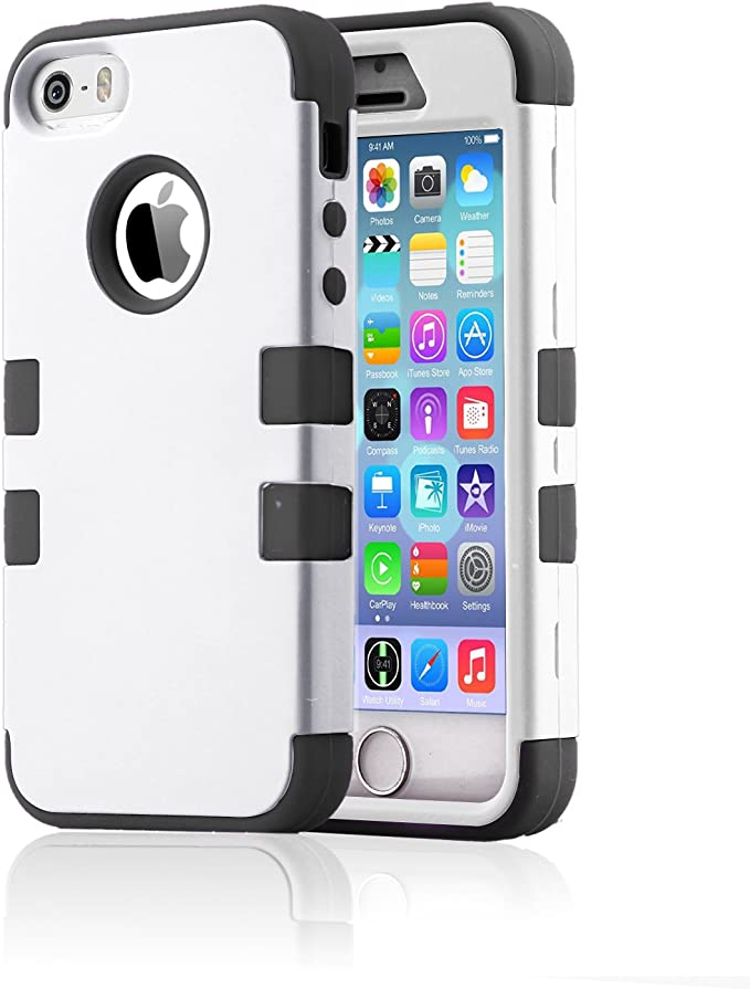 iPhone 5 Coque, iPhone 5S Coque, Bentoben 3 en 1 en plastique rigide Coque en silicone hybride iPhone 5 cases antichoc résistance aux chutes Anti-Slip ...