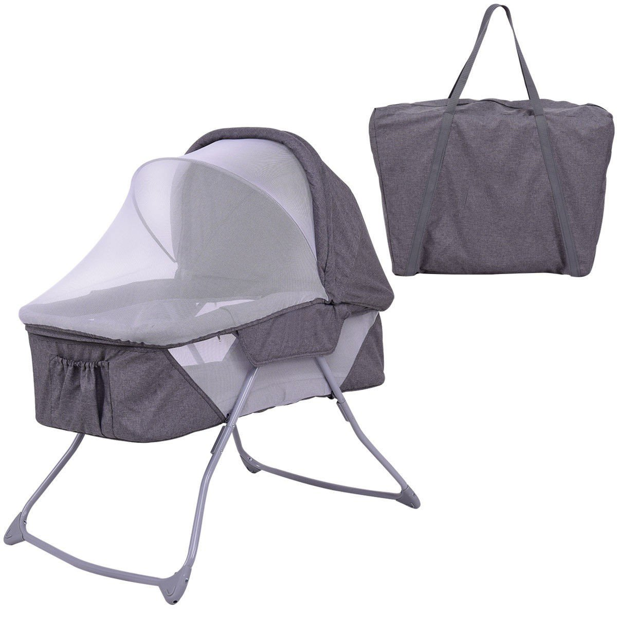 Custpromo Lightweight Foldable Baby Bassinet Rocking Bed w/Mosquito Net Bedding (Gray)