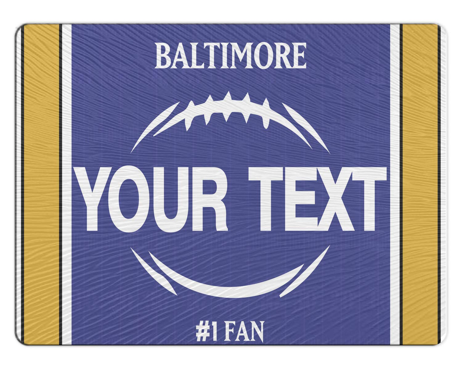 BRGiftShop Personalized Custom Football Team Baltimore 11x15 Glass Cutting Board
