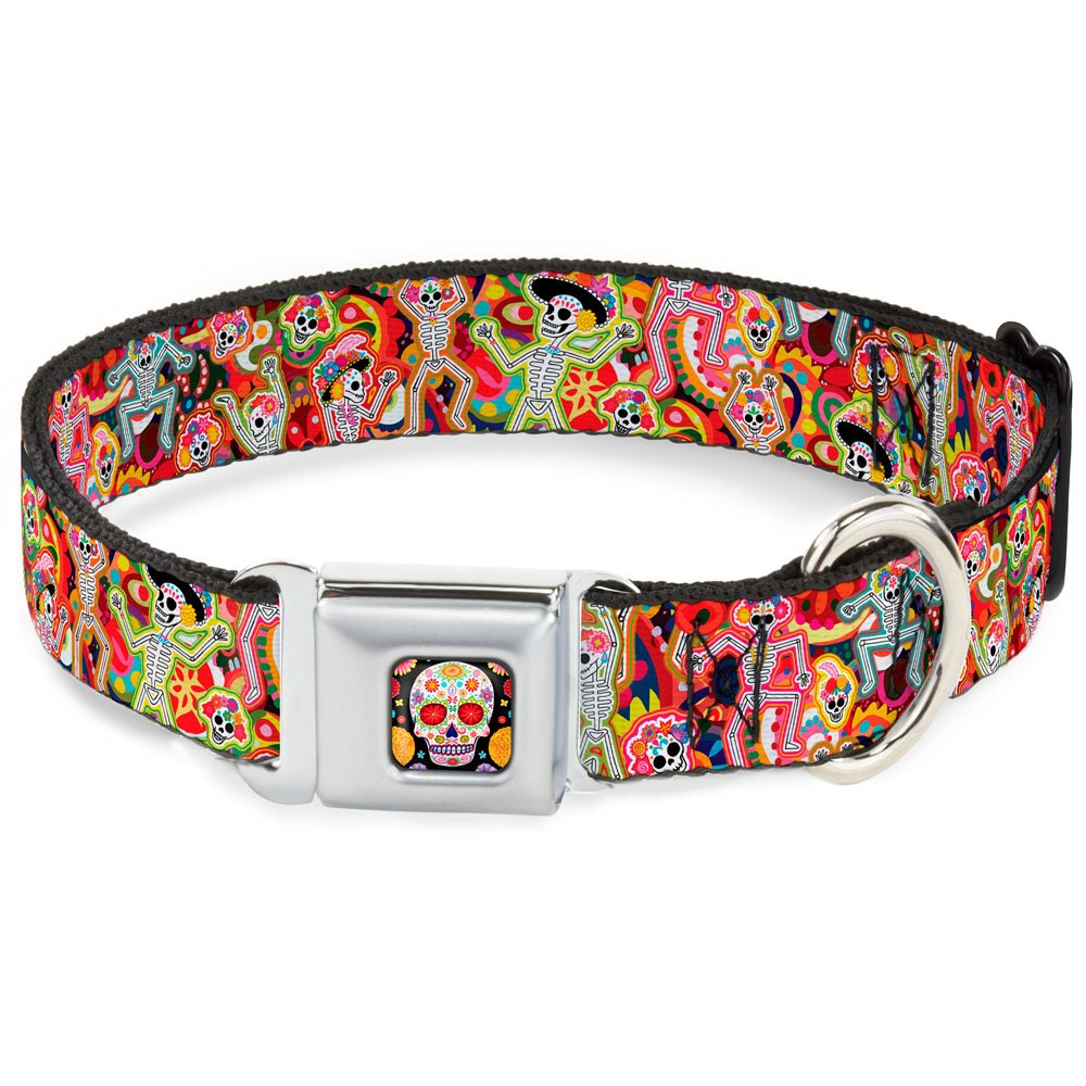 Dancing Catrinas Collage Multi color 1.5\ Dancing Catrinas Collage Multi color 1.5\ Buckle-Down Seatbelt Buckle Dog Collar Dancing Catrinas Collage Multi color 1.5  Wide Fits 18-32  Neck Large