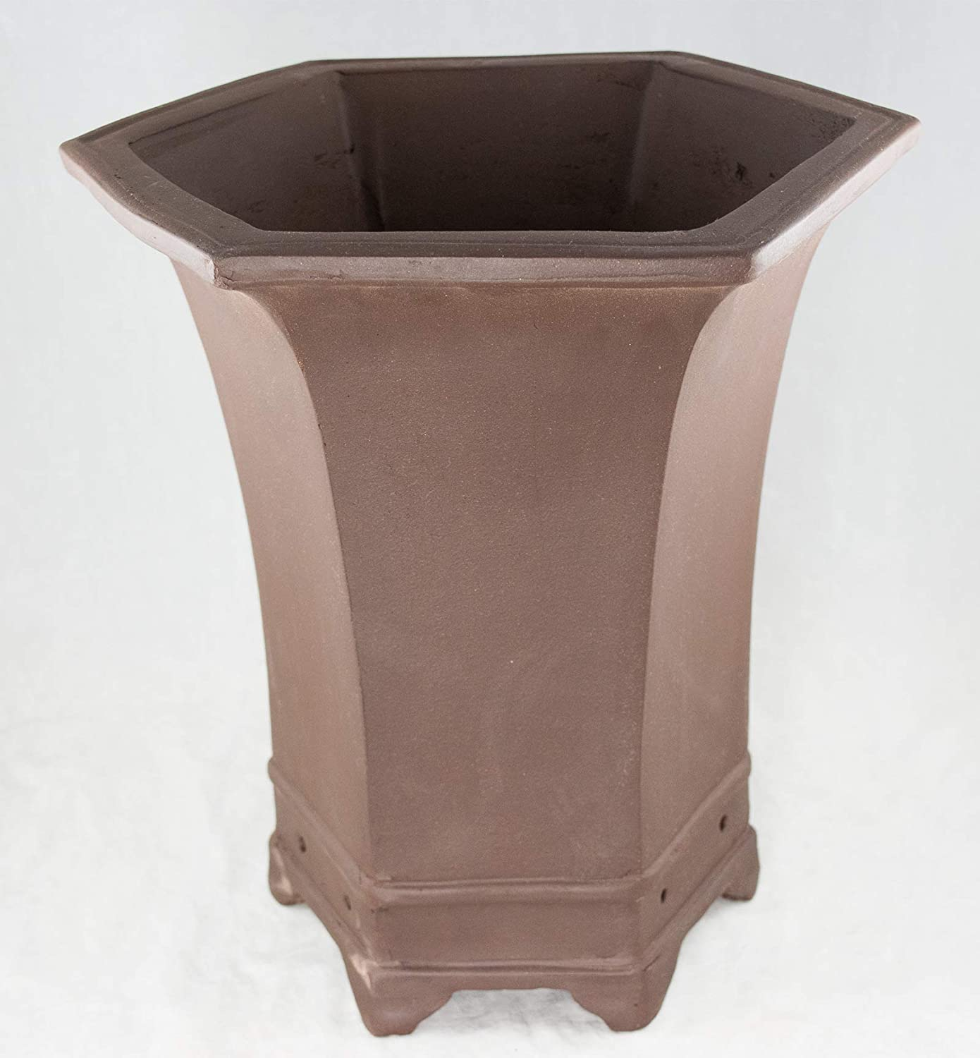 Amazon Com Hexagon Brown Zisha Cascade Bonsai Pot Orchid Planter 10 5 X 10 5 X 12 75 Kitchen Dining