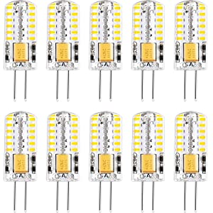 G4 LED Light Bulbs 3000K Warm White Lighting Non-Dimmable Landscape LED Bulb 3W Equivalent to 30W T3 Halogen Track Bulb Replacement G4 Bi-Pin Base Lamp(10 Pack)