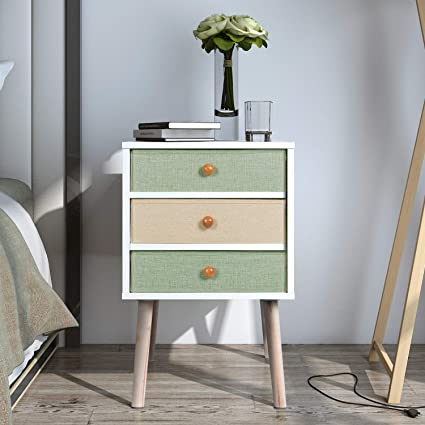 Amazon Com Lifewit Nightstand With 3 Fabric Drawers Unique Modern