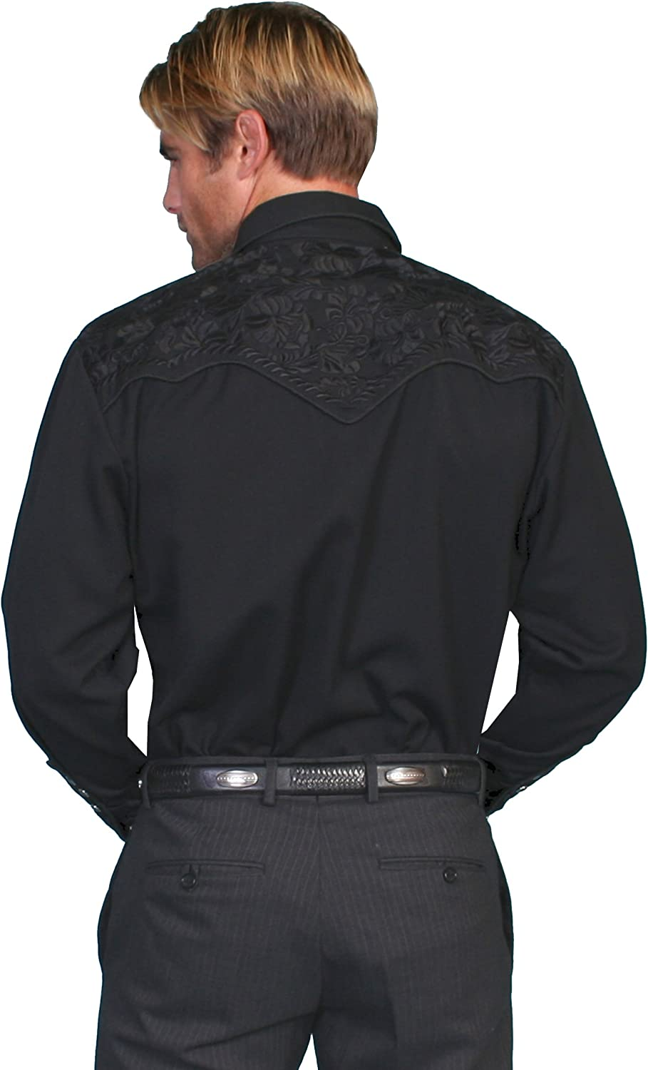 Scully Mens Floral Tooled Shirt