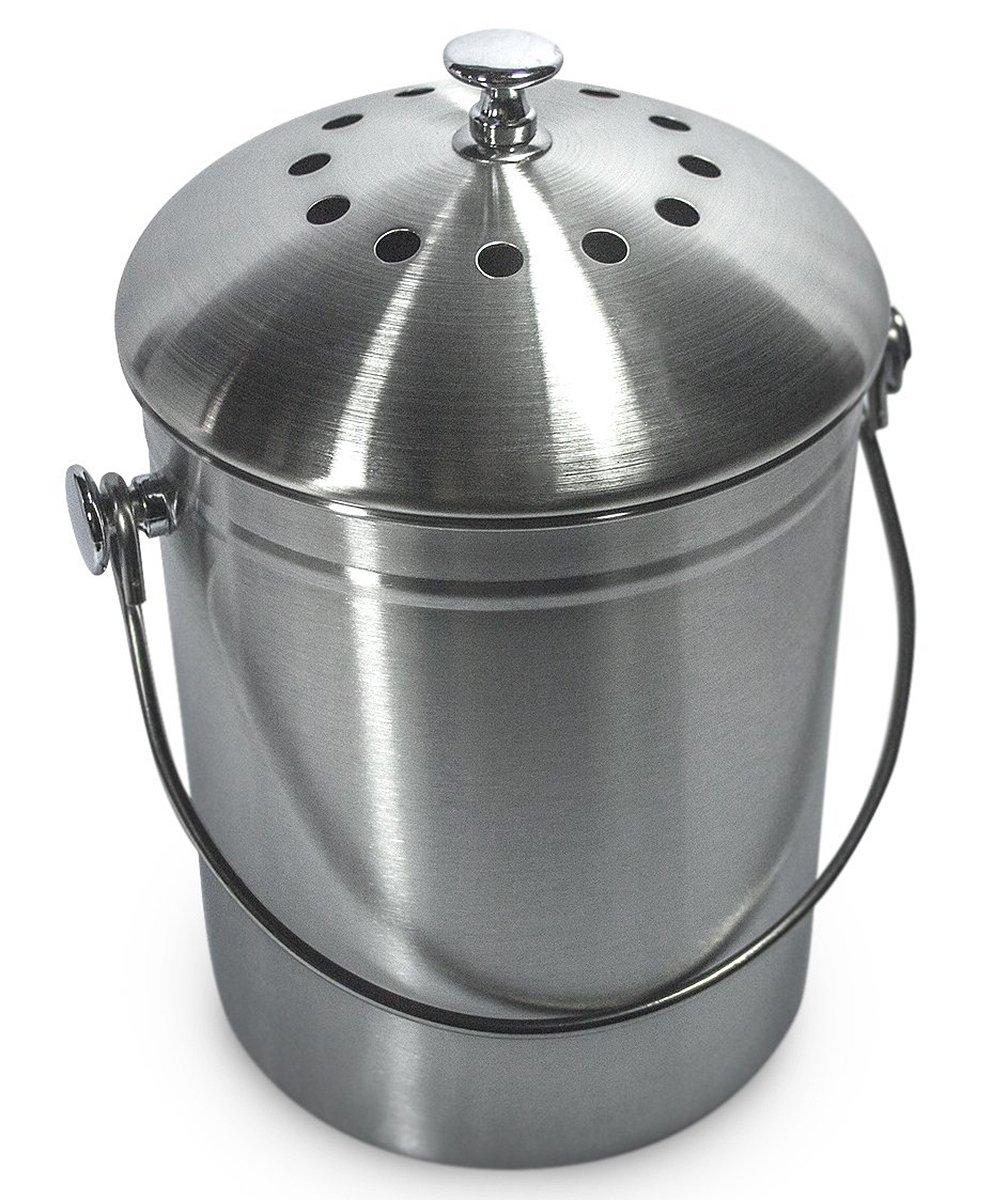 Sorbus Compost Bin, 1 Gallon (STAINLESS STEEL)