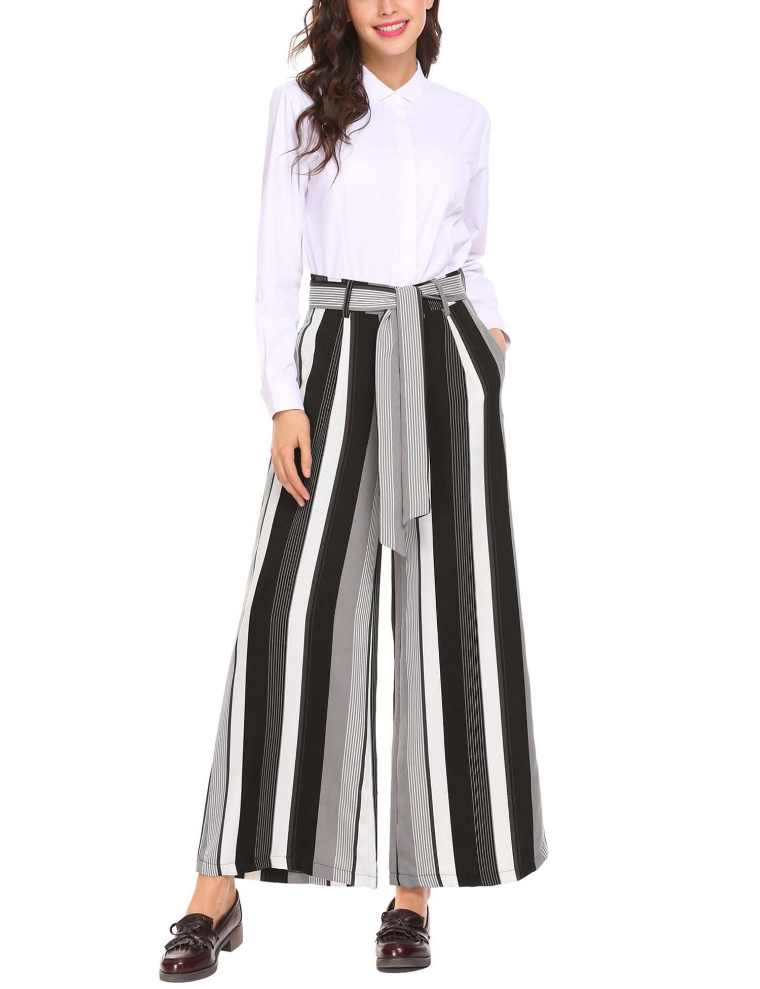 Zeagoo Women's Stripe Flowy Wide Leg High Waist Belted Palazzo Pants Capris,Black Print,Medium