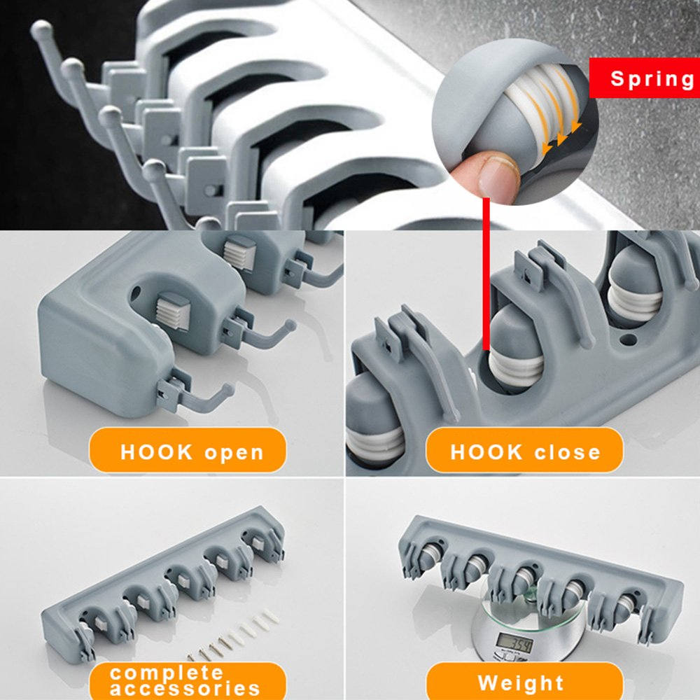 fuerte y resistente herramientas de jard/ín Soporte de pared para escoba HanDingSM multiusos para montaje en pared para garaje organizador de 5 posiciones con 6 ganchos
