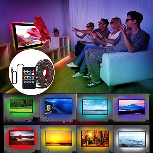 DAITU LED Strip Lights, RGB Color Changing Light Strip Kit with Remote for TV Decoration, Bright 5050 LEDs, Cutting Design, Easy Installation 2M