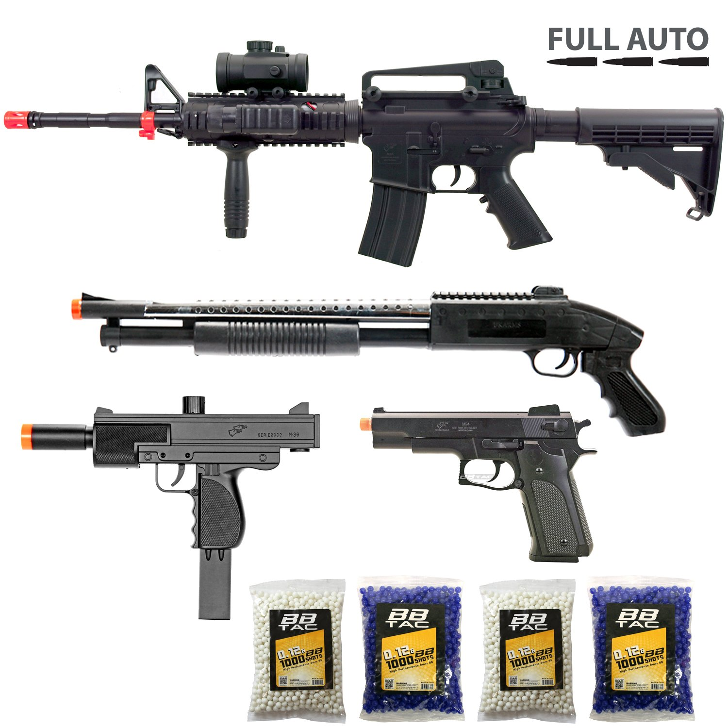 BBTac Airsoft Gun Package - Police Response Team Collection of 4 Airsoft Guns - Full Auto AEG Electric Rifle, Shotgun, SMG and Pistol, 4000 BB Pellets, Great for Starter Pack Game Play