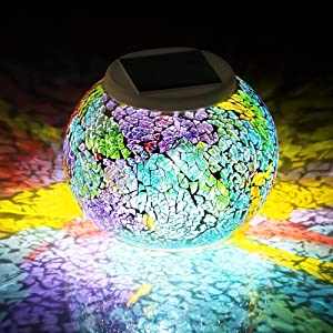 SFgift Color Changing Mosaic Solar Lights Multicolor Glass Globe LED Light Outdoor and Indoor Waterproof Table Lamps for Garden Pati Party Yard Decorations