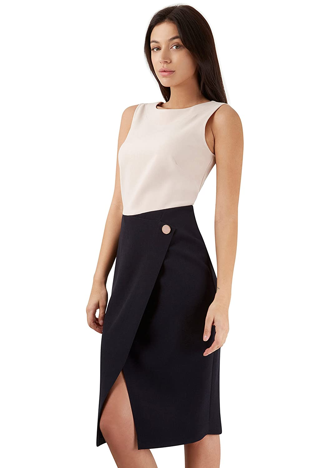 Nude Navy 2 in 1 Wrap Button Skirt Detail Dress