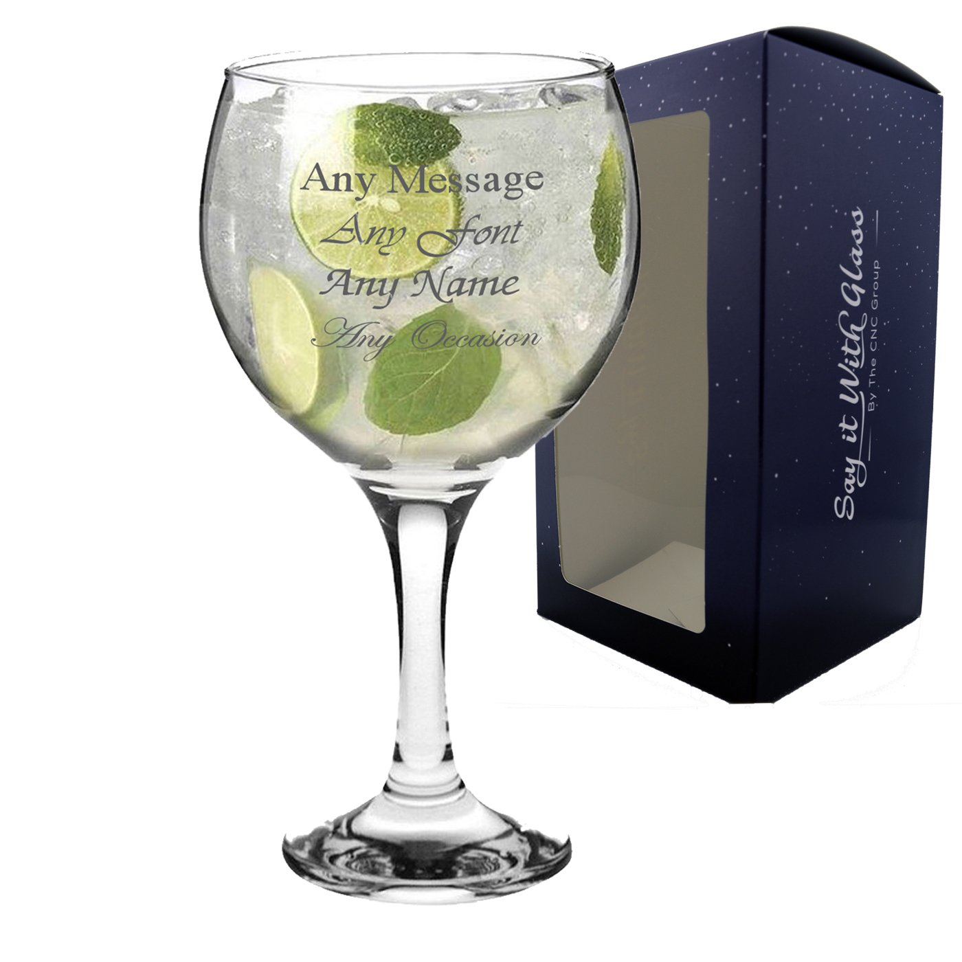 Personalised Engraved Large Gin Balloon Glass Wedding Bridesmaid Birthday 21st 50th Gift CNC Group