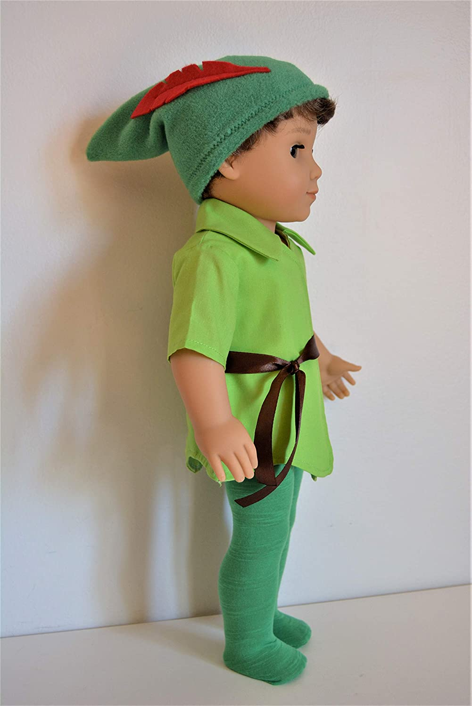 Handmade Doll Clothes Peter Pan Costume Wendy Dress Disney fit 18 American Girl Boy Dolls Halloween