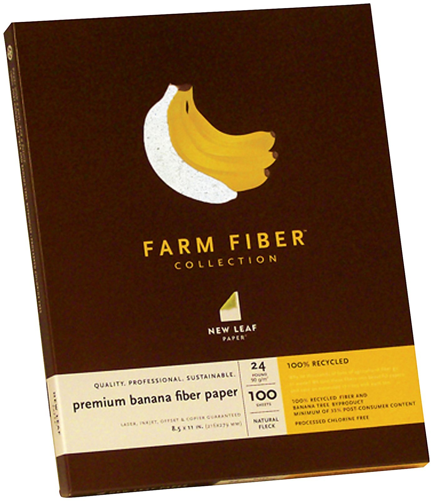 New Leaf Premium Banana Fiber Paper, 100% Recycled, Natural Fleck, 24-Lb, 8.5 x 11 Inches, 100 Count (612-6000) by New Leaf