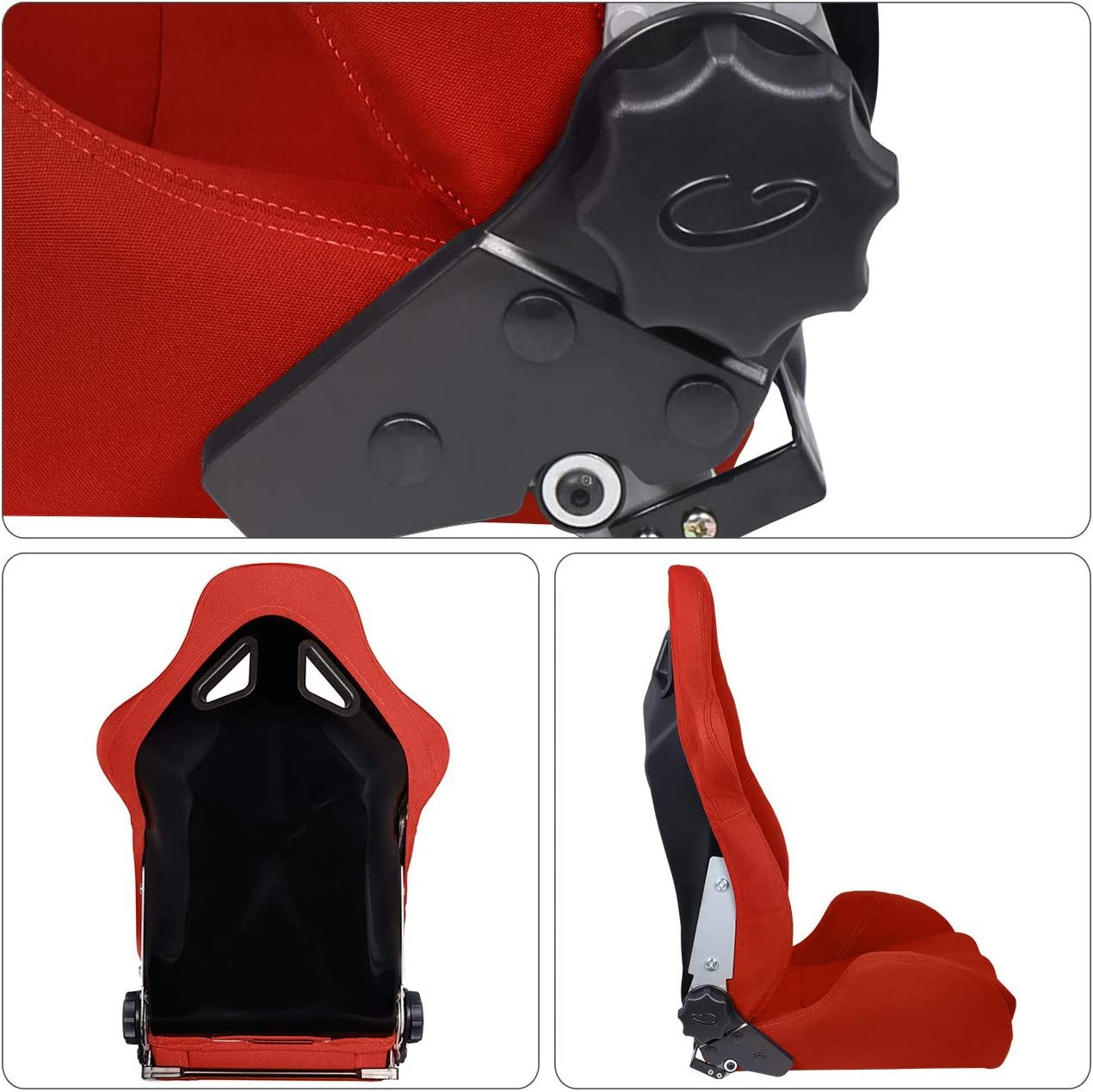 AJP Distributors Red Cloth Fully Reclinable//Adjustable Racing Bucket Sport Seat Upgrade Replacement Pair