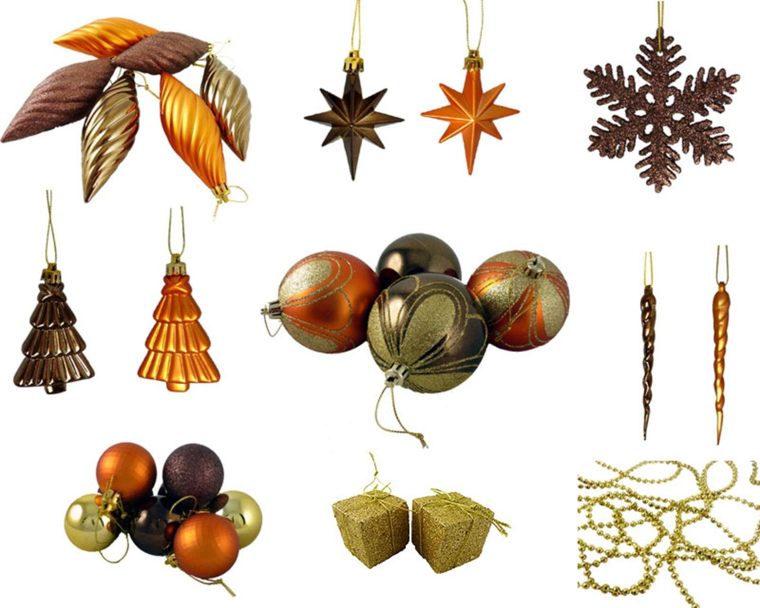 Amazon: 125piece Club Pack Of Shatterproof Brown Copper Gold Tone Christmas  Ornaments: Home & Kitchen