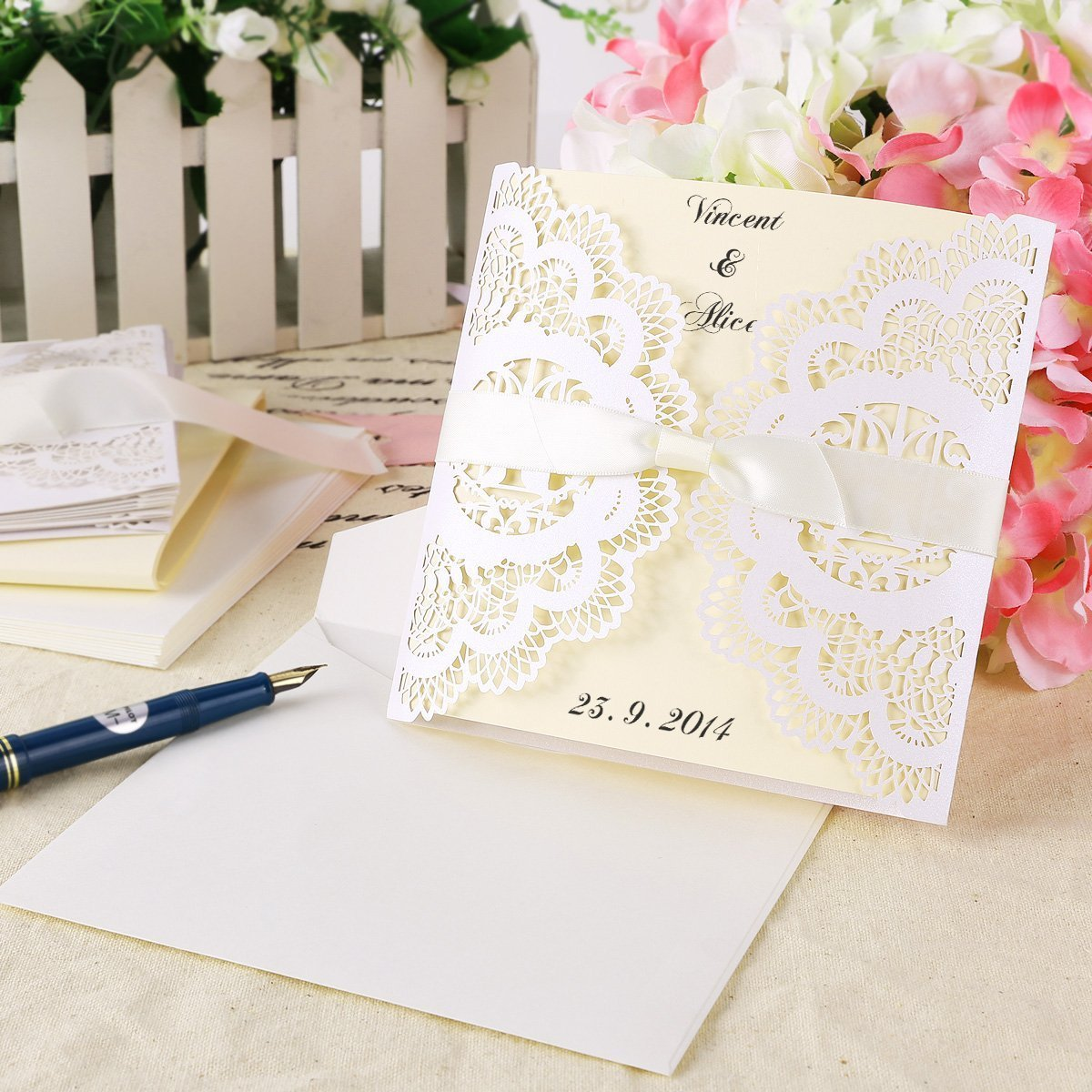 Wedding Invitations Invite Lace Laser Cut Out Effect Blank Cards W  Envelopes Vintage Ribbon Tie Bow