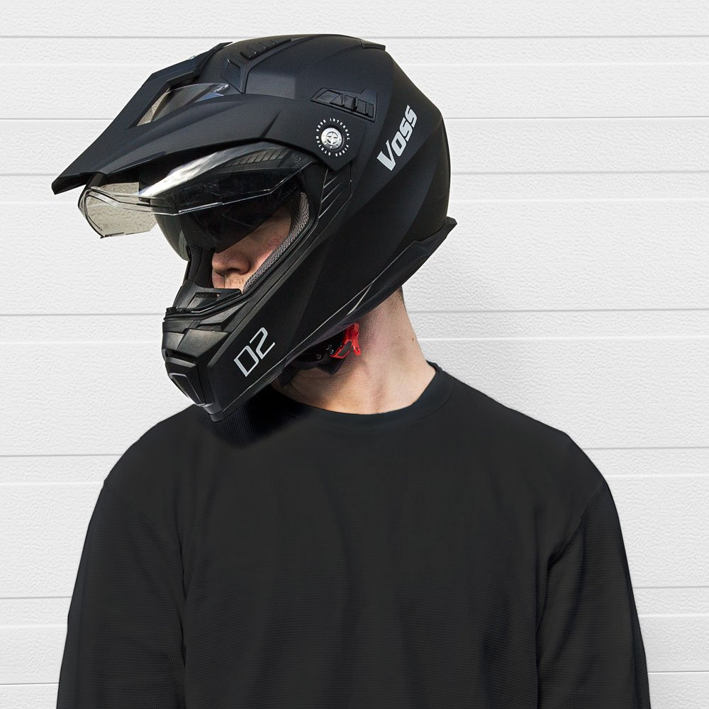 Amazon.com: Voss 601 D2 Dual Sport Helmet with Integrated Sun Lens and Ratchet Quick Release System - Small - Matte Black: Automotive