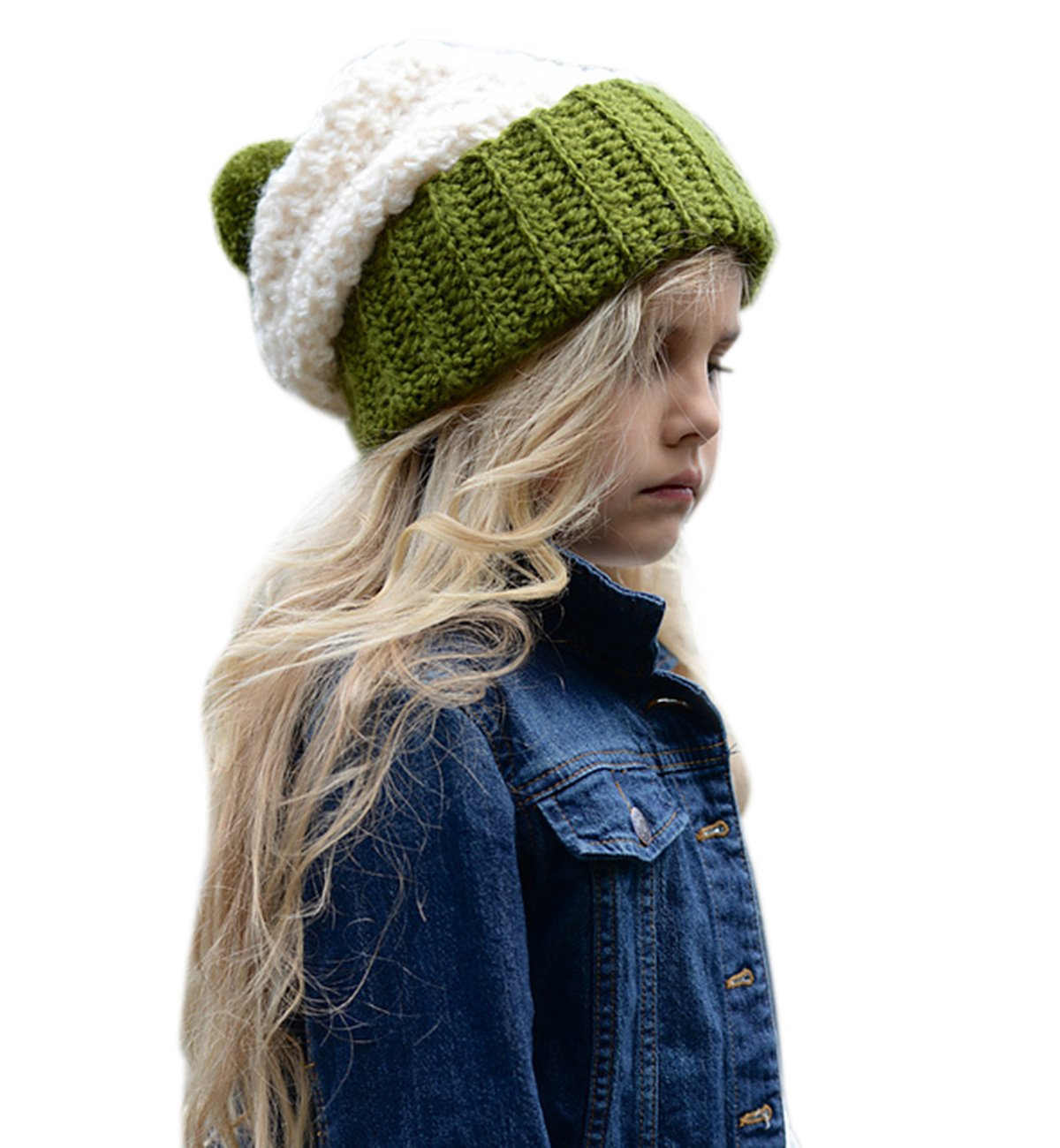 Sumolux Girls Knitted Baggy Slouchy Thick Winter Beanie Hat Cuff Beanie Warm Cap for Kids Autumn Winter