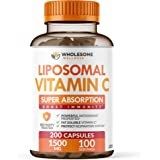 Liposomal Vitamin C Capsules (200 Pills 1500mg Buffered) High Absorption VIT C, Immune System & Collagen Booster, High…