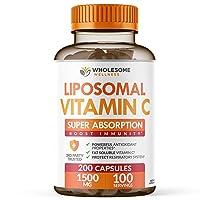 Liposomal Vitamin C Capsules (200 Pills 1500mg Buffered) High Absorption VIT C,...