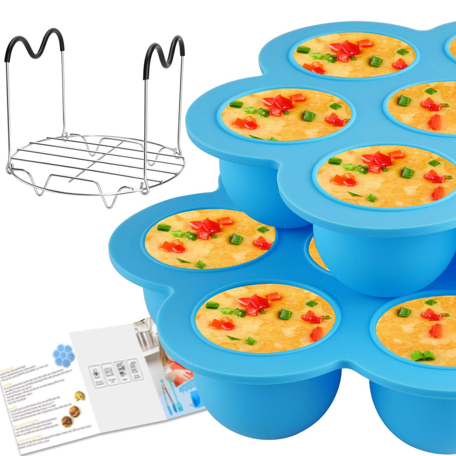 Voloop Silicone Egg Bites Molds and Steamer Rack Trivet with Silicone Handles for Instant Pot Accessories 6Qt or 8Qt Pressure Cooker, Freezer Accessory(3Pcs/Set)
