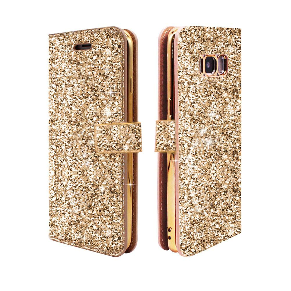 Galaxy S8 Wallet Case, ClarksZone Sequins Glitter Protective Case with [Card Slots] [Stand Feature] PU Leather + Cover Soft TPU Shock Absorption Inner Case for Samsung Galaxy S8 - Gold 4336651367