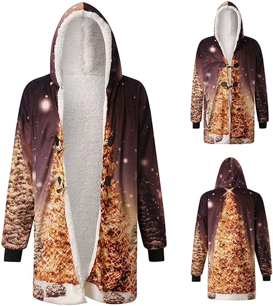 Mens Winter Long Hooded Jacket Casual Horn Buckle Plus Velvet Thicken 3D Christmas Printed Coats Outwear Overcoat XL-4XL