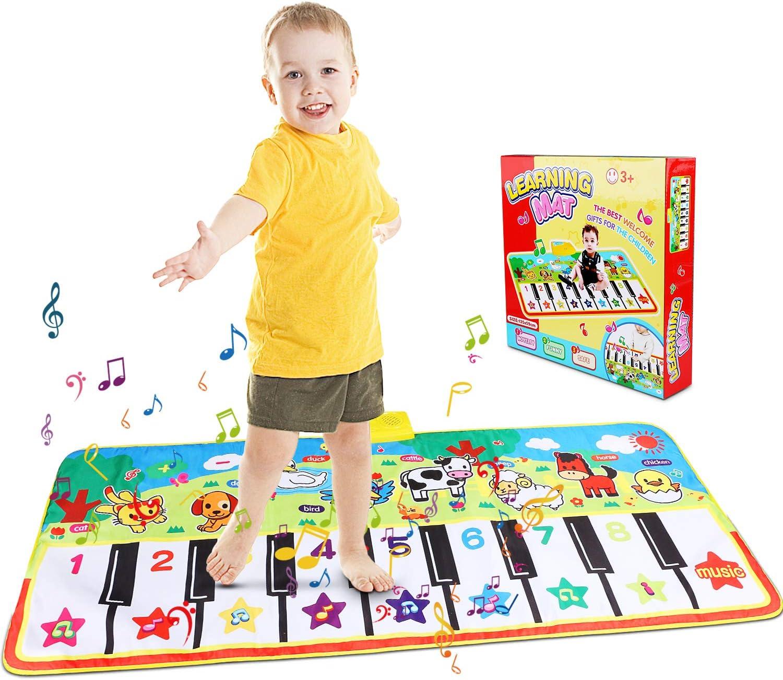 Alfombra de Piano, Alfombra Musical de Teclado, Alfombra Piano de Animales para Niños Niñas, Alfombrilla Musical Estera deTeclado Táctil para Niños(135 x60cm)