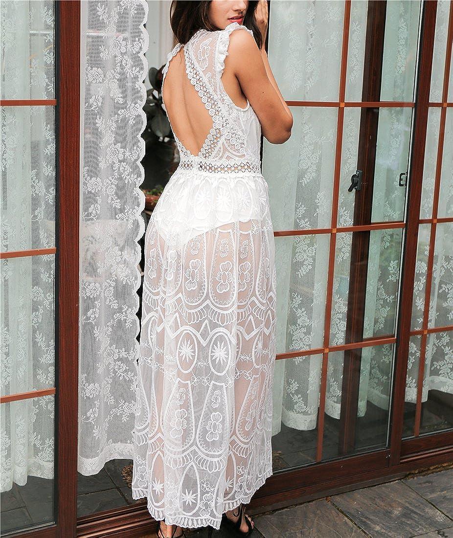Amazon.com: Yanick Mark Hollow out long dress vestidos de fiesta Vintage backless ruffle summer dress women Sexy deep V transparent lace dress: Clothing