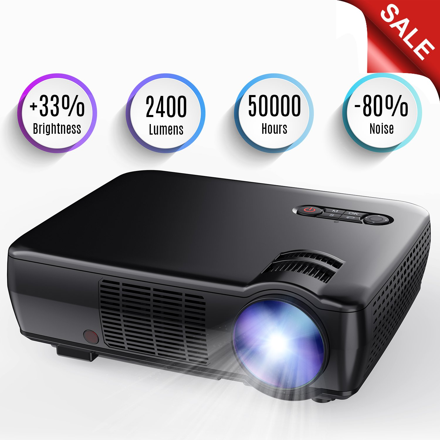 Projector, 2400 Lumens Portable Video Projector Mini Home Theater 5.0'' LCD Projector with 176'' Display Support 1080p HDMI VGA USB AV for Outdoor & Indoor Movie Nights, Video Games by TENKER