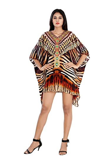 694e6732337 Image Unavailable. Image not available for. Color: Silk kaftan Animal Print  Heavily Embellishment Short Beach Party Wear ...