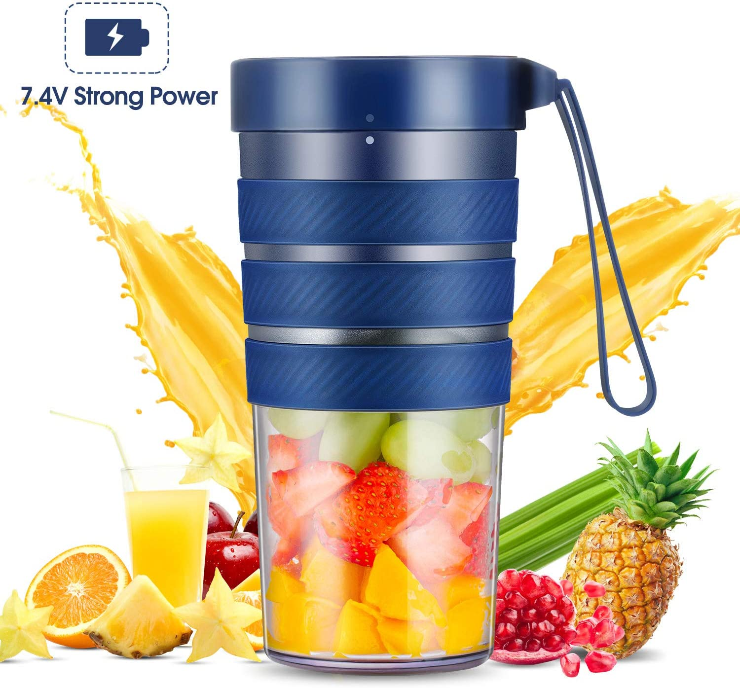 Portable Blender, Mini Smoothie Blender with Rechargeable Battery 7.4V Strong Power, 10oz Cordless Personal Blender Fruit Juicer Mixer for Office Gym Outdoors Travel, IP68 Waterproof, BPA Free