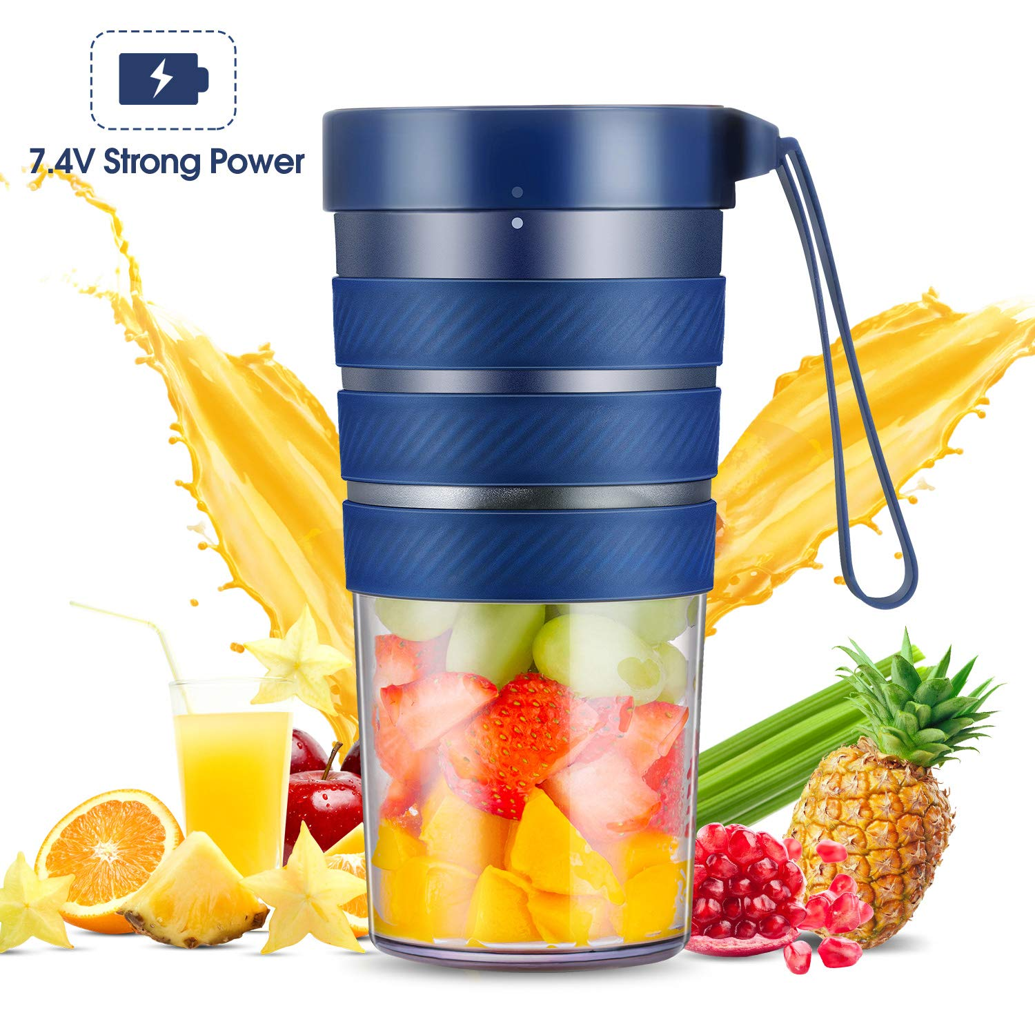 Portable Blender, Mini Smoothie Blender with Rechargeable Battery 7.4V Strong Power, 10oz Cordless Personal Blender Fruit Juicer Mixer for Office Gym Outdoors Travel, IP68 Waterproof, BPA Free by Homendless