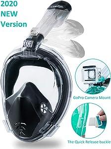 X-Lounger Snorkeling Mask Full Face Foldable Easy Breathe Anti-UV Ear Pressure Balance Design 180 Panoramic View Double Anti-Fog Anti-Leak Detachable Camera Mount Earplugs Clear PVC Bag