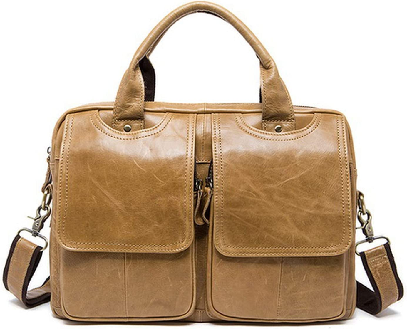 MenS Briefcase Bag MenS Genuine Leather Bags Male Man 14Inch Business Laptop Bag For Men Briefcases Leather Bags,8002Yellowbrown