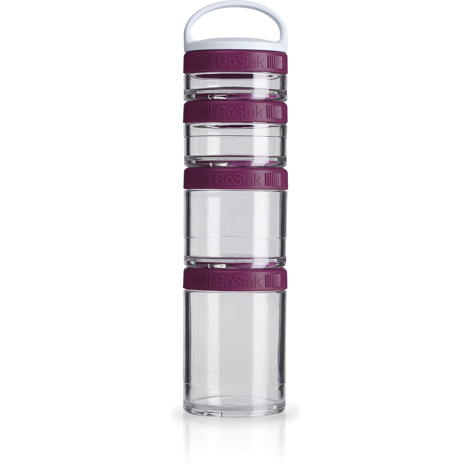 BlenderBottle C02504 GoStak Twist n' Lock Storage Jars, 4-Piece Starter Pak, Plum