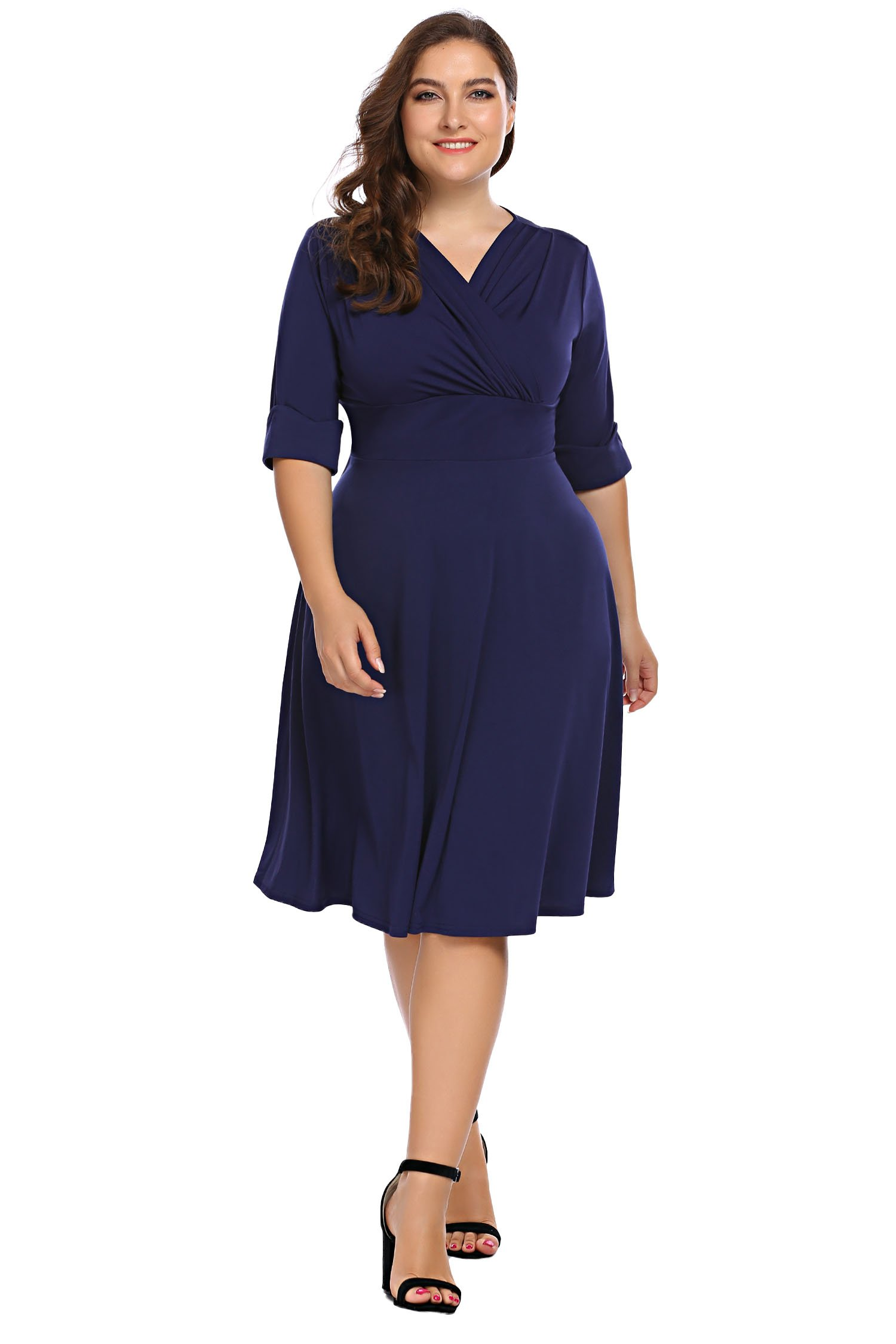 Involand Women's Plus Size Sexy Wrap Dress 3/4 Sleeve Midi Evening Party Dress,Dark Blue,24 Plus