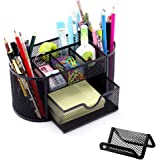 Geecol Mesh Desk Supplies Organizer Office Supply Caddy, Multi-Functional Stationery Caddy Pen Holder Pencil Holder 1 Slide Drawer with a Mesh Card Holder Stand