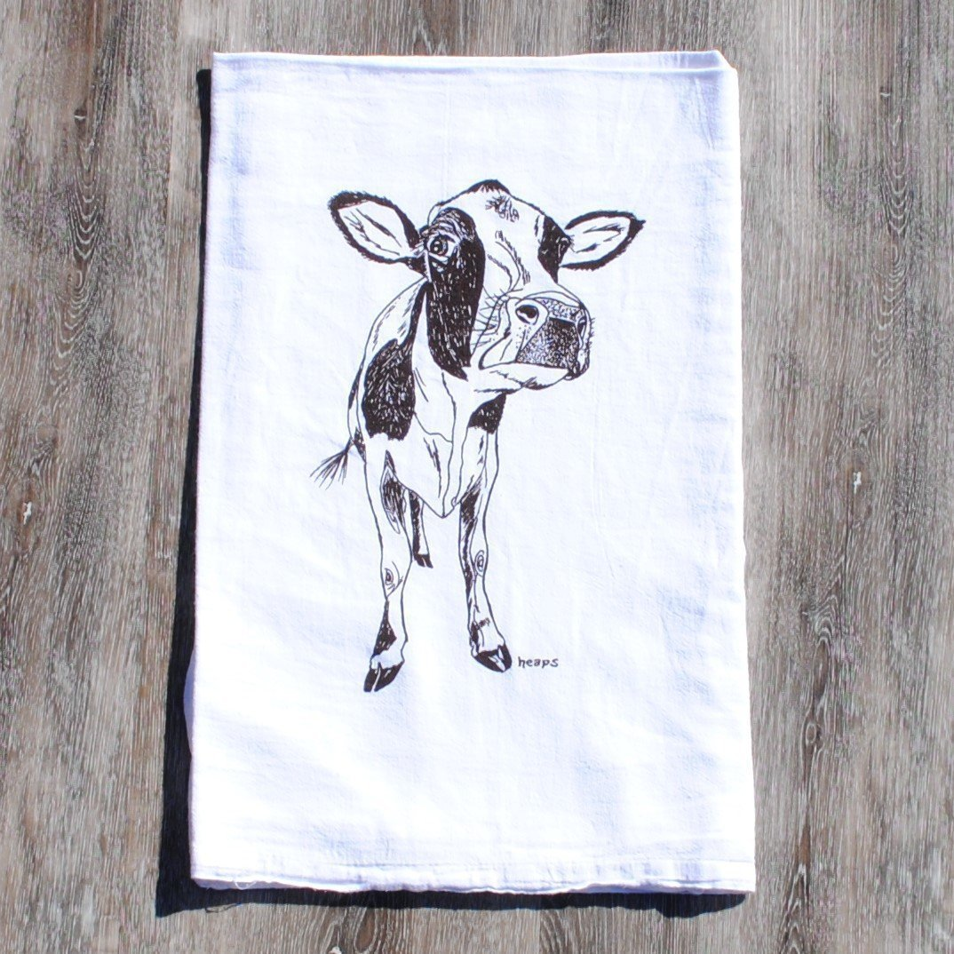 Kitchen Towel - Black Cow Screen Print - Animal Linens - 100% Cotton Flour Sack